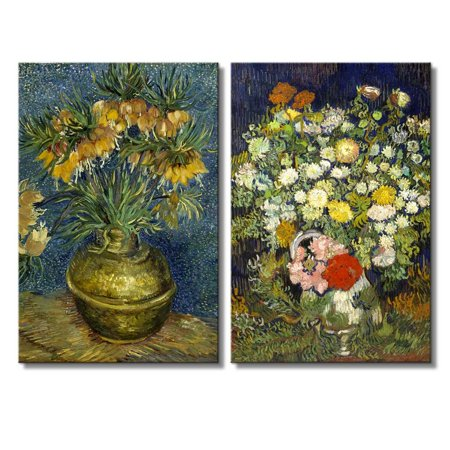 - wall26 - Still Life of Flowers in Vase by Vincent Van Gogh - Oil Painting Reproduction in Set of 2 | Canvas Prints Wall Art, Ready to Hang - 16