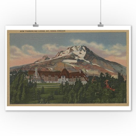 Mount Hood, Oregon - View of the New Timberline Lodge #1 (9x12 Art Print, Wall Decor Travel Poster) (Mount Hood Timberline)