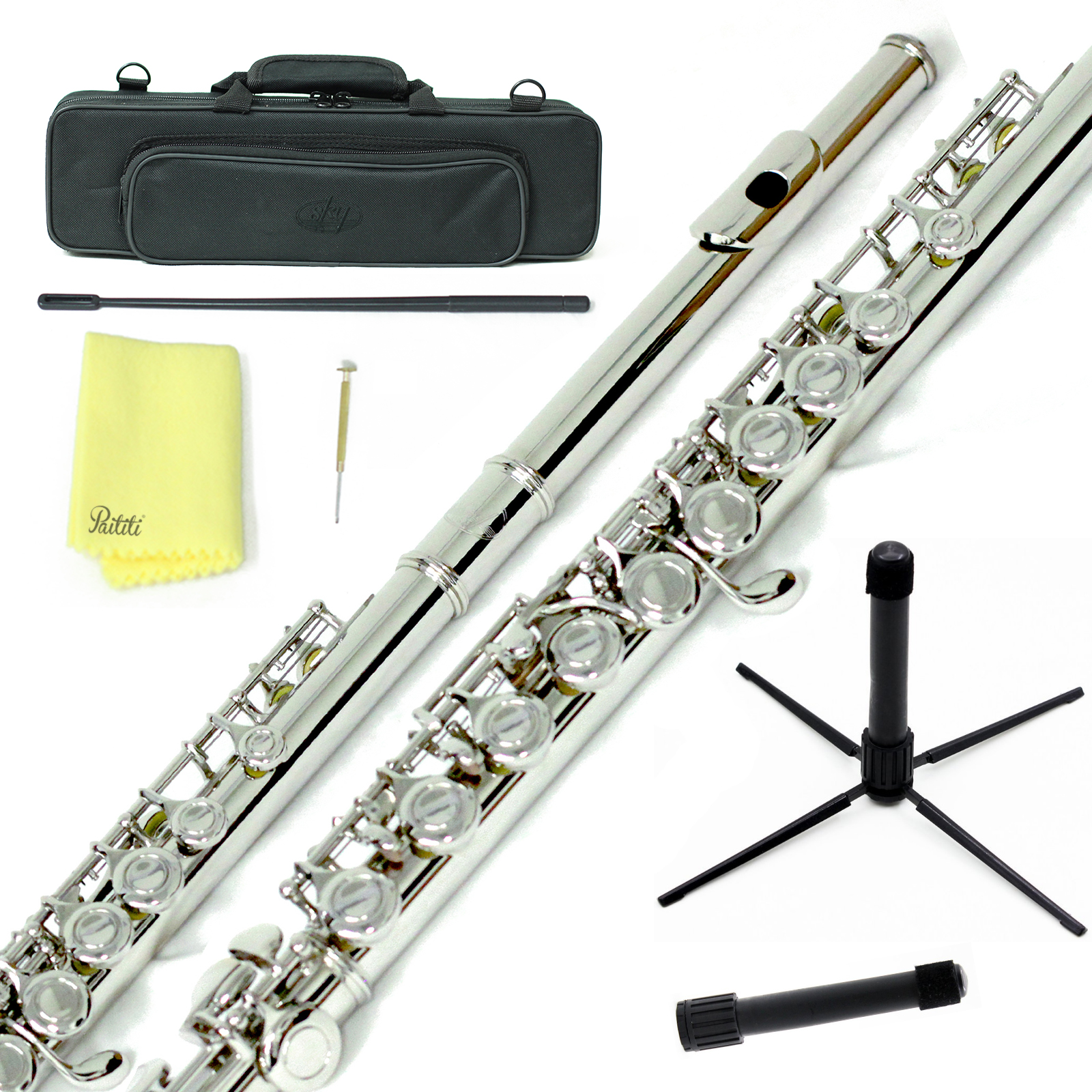 Sky Closed Hole C Flute with Lightweight Case, Cleaning Rod, Cloth, Joint Grease and Screw Driver - Nickel