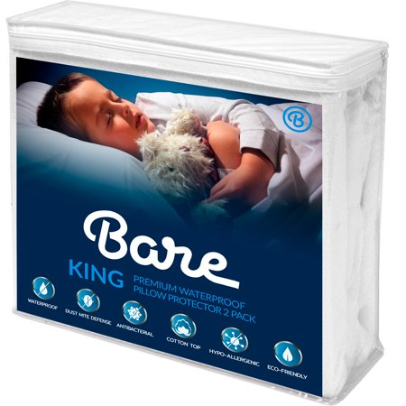2 Year Warranty Free Return (King Size Premium Pillow Protector 2 Pack - 100% Waterproof - Vinyl Free Hypoallergenic - 10 Year Warranty - (King Pillow Size, Pack of 2) )