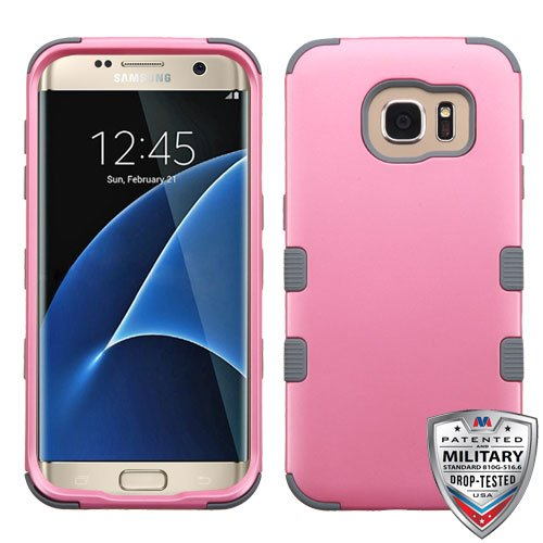 Samsung Galaxy S7 Edge Case - Wydan Tuff Hybrid Hard Shockproof Case Protective Cover Teal on Pink