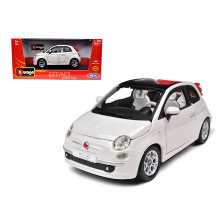 2009 Fiat 500 C Cabriolet White 1/24 Diecast Model Car by Bburago (Cabriolet Diecast Model Car)