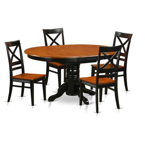 East West Furniture Avon Rubberwood 5-piece Dining Set wi...