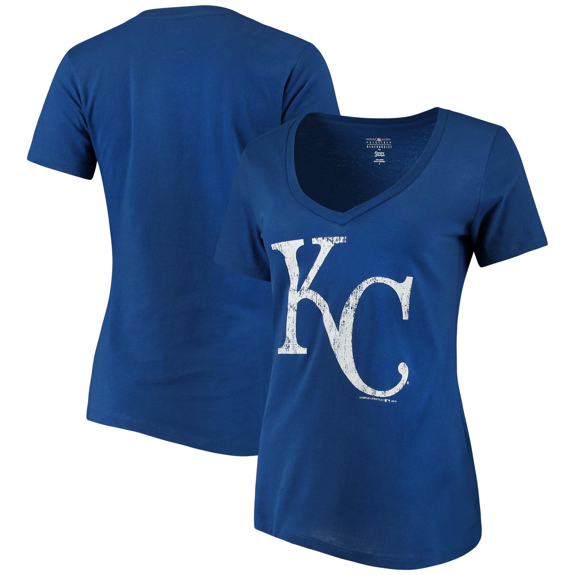 Kansas City Royals New Era Women's V-Neck T-Shirt - Royal