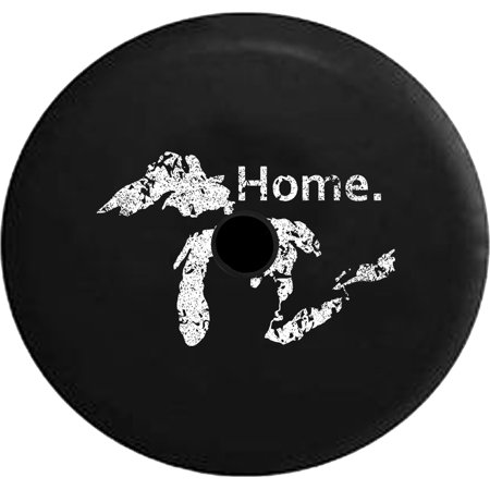 2018 2019 Wrangler JL State of Michigan Great Lakes Detroit Home Edition Spare Tire Cover Jeep RV 32 InchBack up Camera -  Pike Outdoors, JL-DIST-TIRE-S213-32
