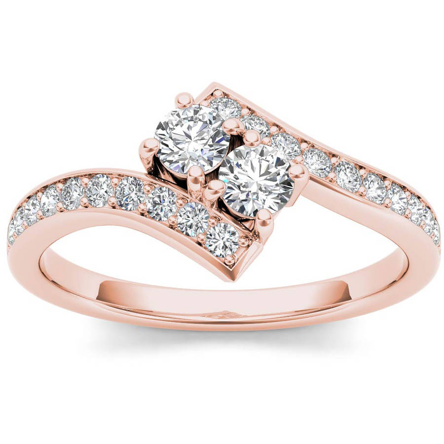 Imperial 3 4 Carat T.W. Diamond 14kt Rose Gold Two-Stone Bypass Band by Imperial Jewels