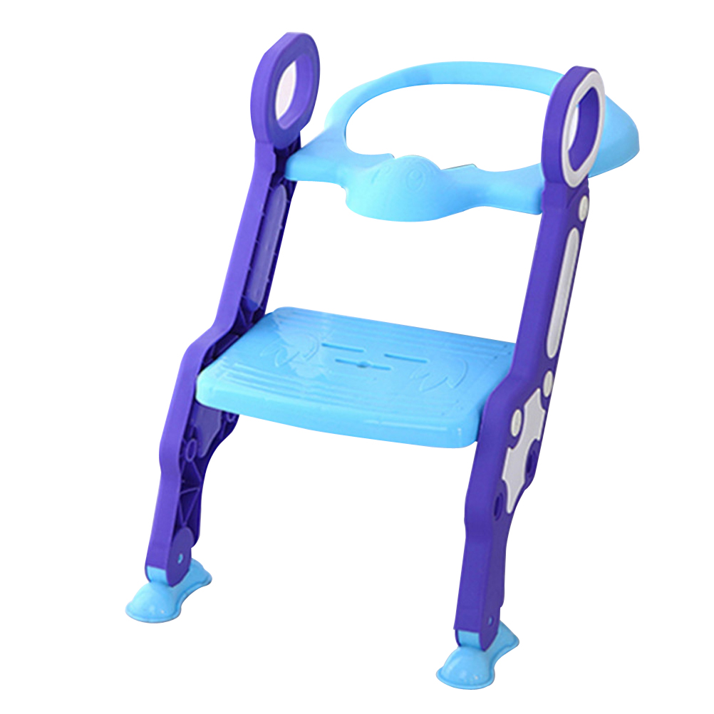 Baby Toddler Foldable Potty Training Toilet Chair Seat Step Ladder (Blue and Purple)