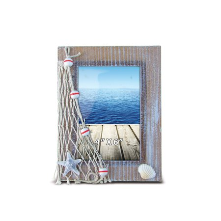 Puzzled Wooden Picture Frame with Starfish Seashell & Fishing Net, 4 x 6 Inch Sculptural Photo Holder Intricate Wood Art Handcrafted Tabletop Accent Nautical Beach Themed Home Décor Accessory ()
