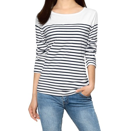 Women Horizontal Striped Round Neck Long Sleeves Tee Shirts Blouse Tops Dark Blue XS (US 2)