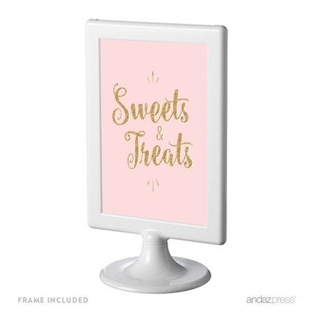 Signature Blush Pink, White, Gold Glittering Party Collection, Framed Party Sign, Sweets & Treats, 4x6-inch - Small Pink Sweets