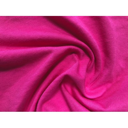 100% Organic Cotton Jersey Fabric By The Yard, Solid Rose Pink, 60'' by 1 yard Pink Ribbon Cotton Jersey