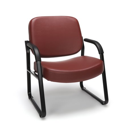OFM Model 407-VAM Big and Tall Guest and Reception Chair with Arms, Anti-Microbial/Anti-Bacterial Vinyl, Wine (Ofm Guest Reception)