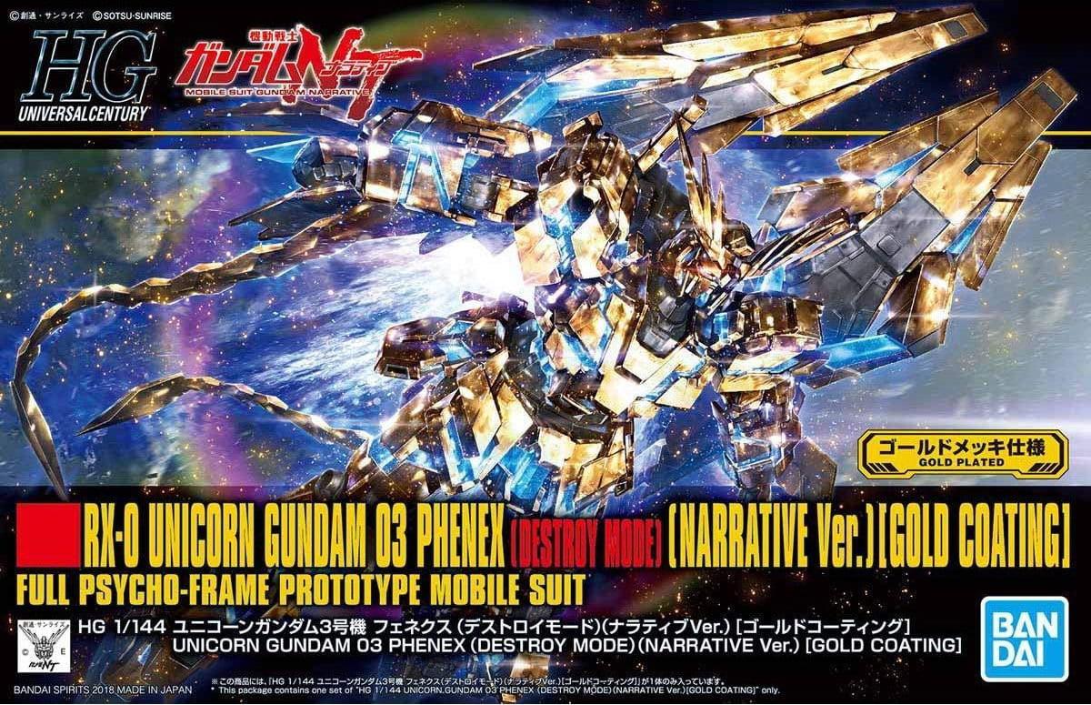 Bandai Gundam NT Narrative Ver. Unicorn Phenex Gold Coating HG 1 144 Model Kit by Bandai Hobby