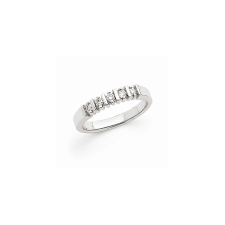 Solid 14k White Gold AA Diamond 5-Stone Ring (3mm) (1/5ct.) - Size 4