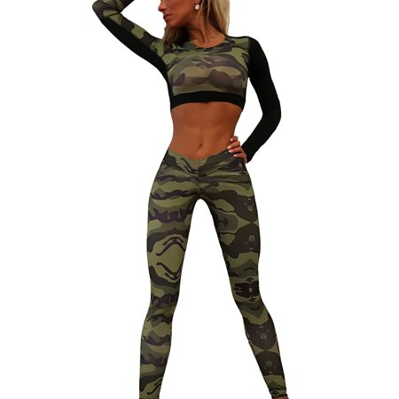 Women Yoga Fitness Exercise Long Sleeve Crop Tops +Pants Leggings Set Camouflage Print Gym Workout Sports Wear (Cheap Long Shirts To Wear With Leggings)