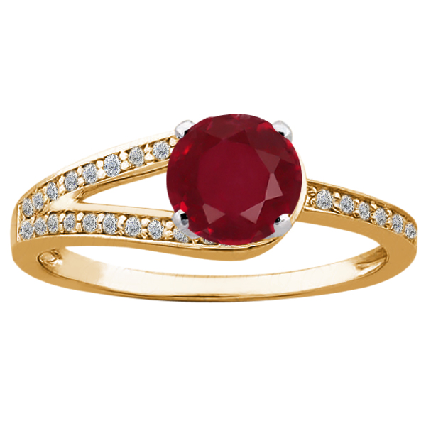 1.46 Ct Round Red Ruby 925 Yellow Gold Plated Silver Ring