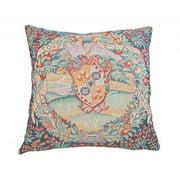Corona Dcor Corona Decor French Woven Floral Crest Design Decorative Throw Pillow