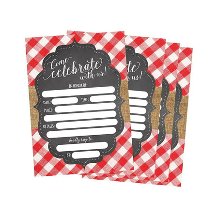 50 red and white summer bbq party invitations for children kids