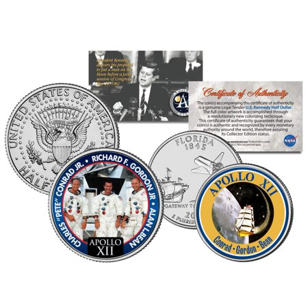 APOLLO 12 SPACE MISSION 2-Coin Set US Quarter & JFK Half Dollar NASA