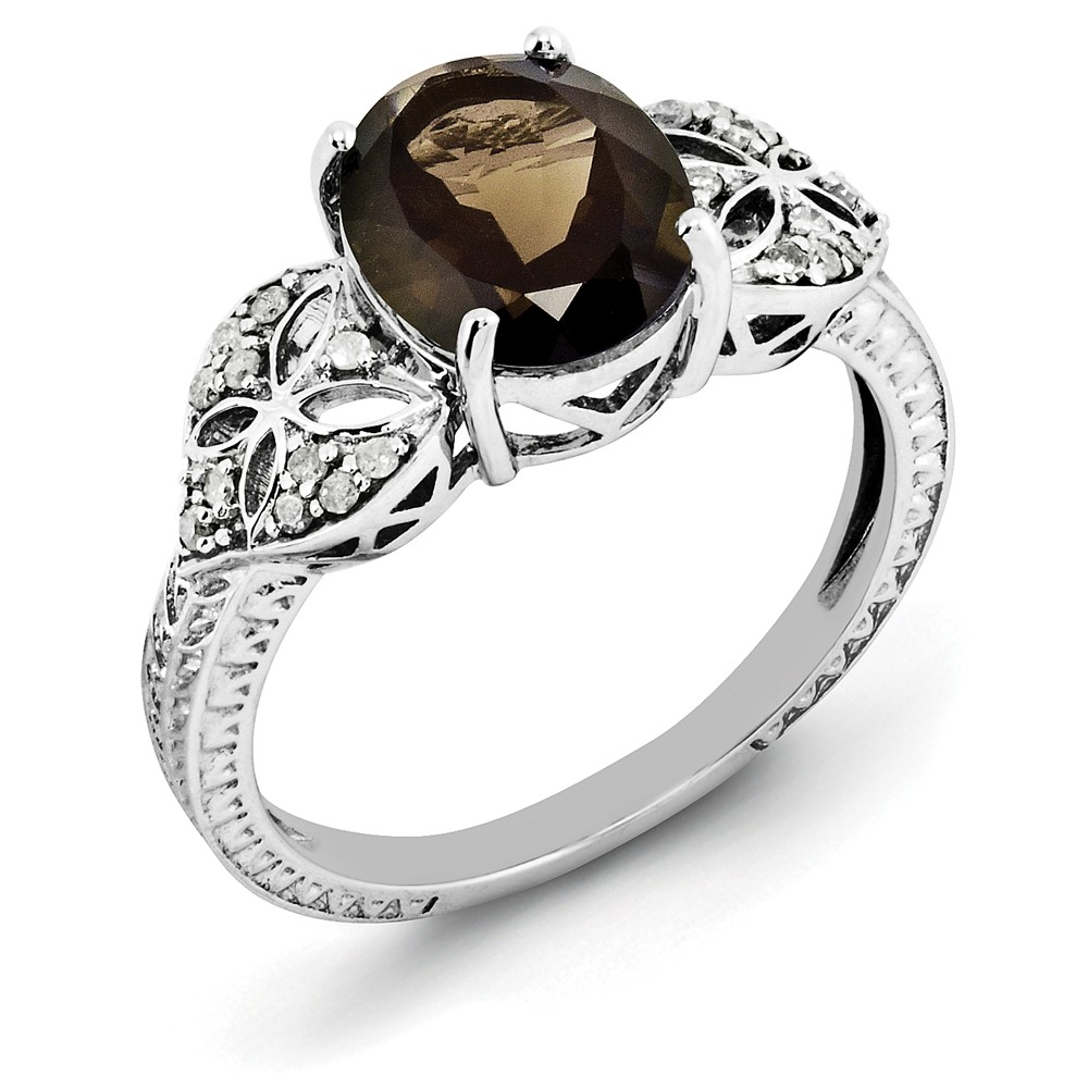 925 Sterling Silver Diamond and Smoky Quartz Ring Size-10