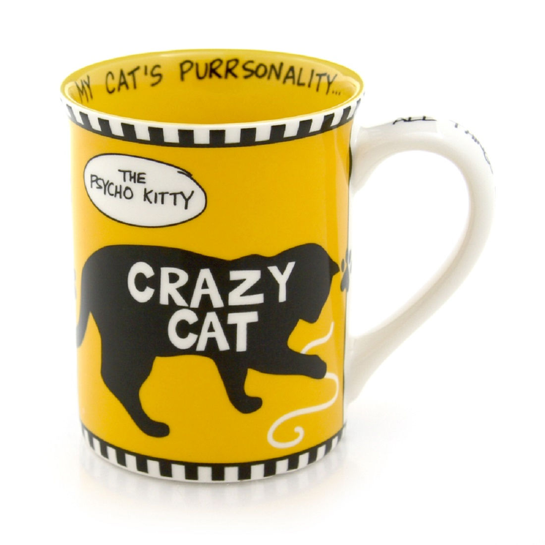 "CRAZY CAT ""The Pyscho Kitty"" Coffee Mug 16-ounce Cat Mom Cat Lover"