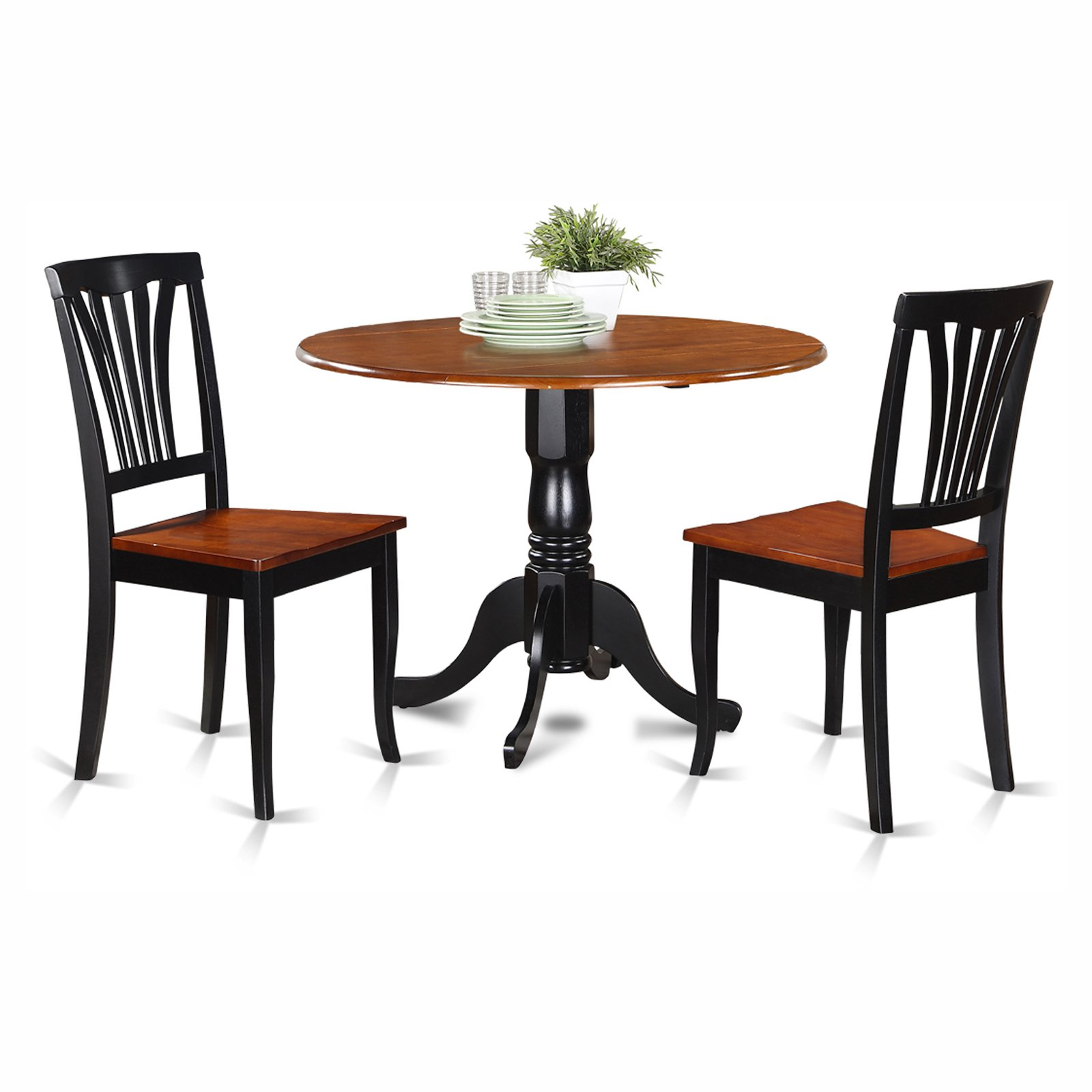 East West Furniture Dublin 3 Piece Round Dining Table Set with Avon Wooden Seat Chairs