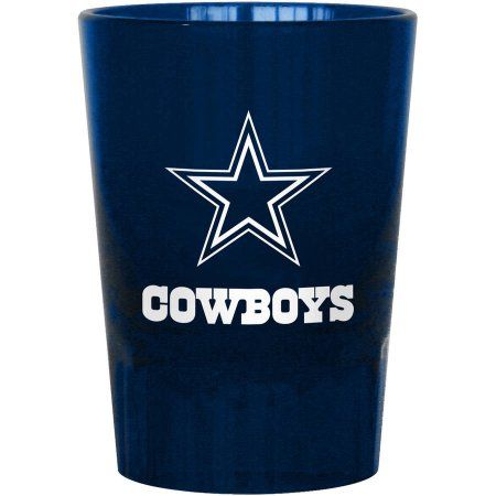 Boelter Brands NFL Set of 2 Dallas Cowboys 2 Ounce Shot Glasses Frosted Blue w/Team Logo & Name