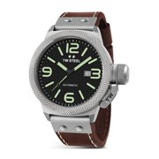 Mens XXL Stainless Steel Case Canteen Brown Leather Black Dial Silver Watch - CS26