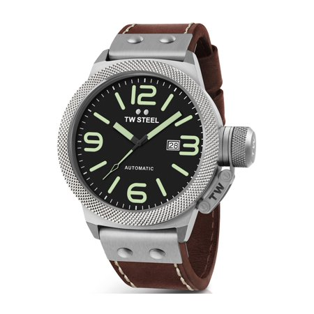 TW Steel Mens XXL Stainless Steel Case Canteen Brown Leather Black Dial Silver Watch - CS26