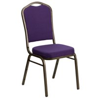 Flash Furniture HERCULES Series Crown Back Stacking Banquet Chair with Purple Fabric and 2.5'' Thick Seat, Gold Vein Frame