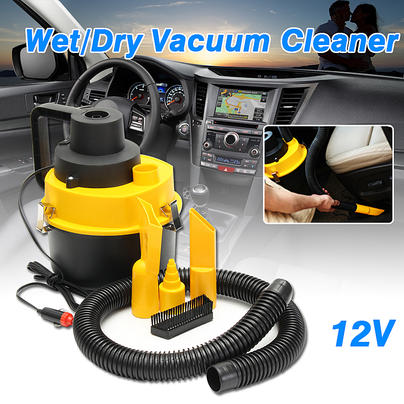 12V Wet Dry Vac Vacuum Cleaner Portable Inflator Turbo Hand Held for Car Shop, Yellow by