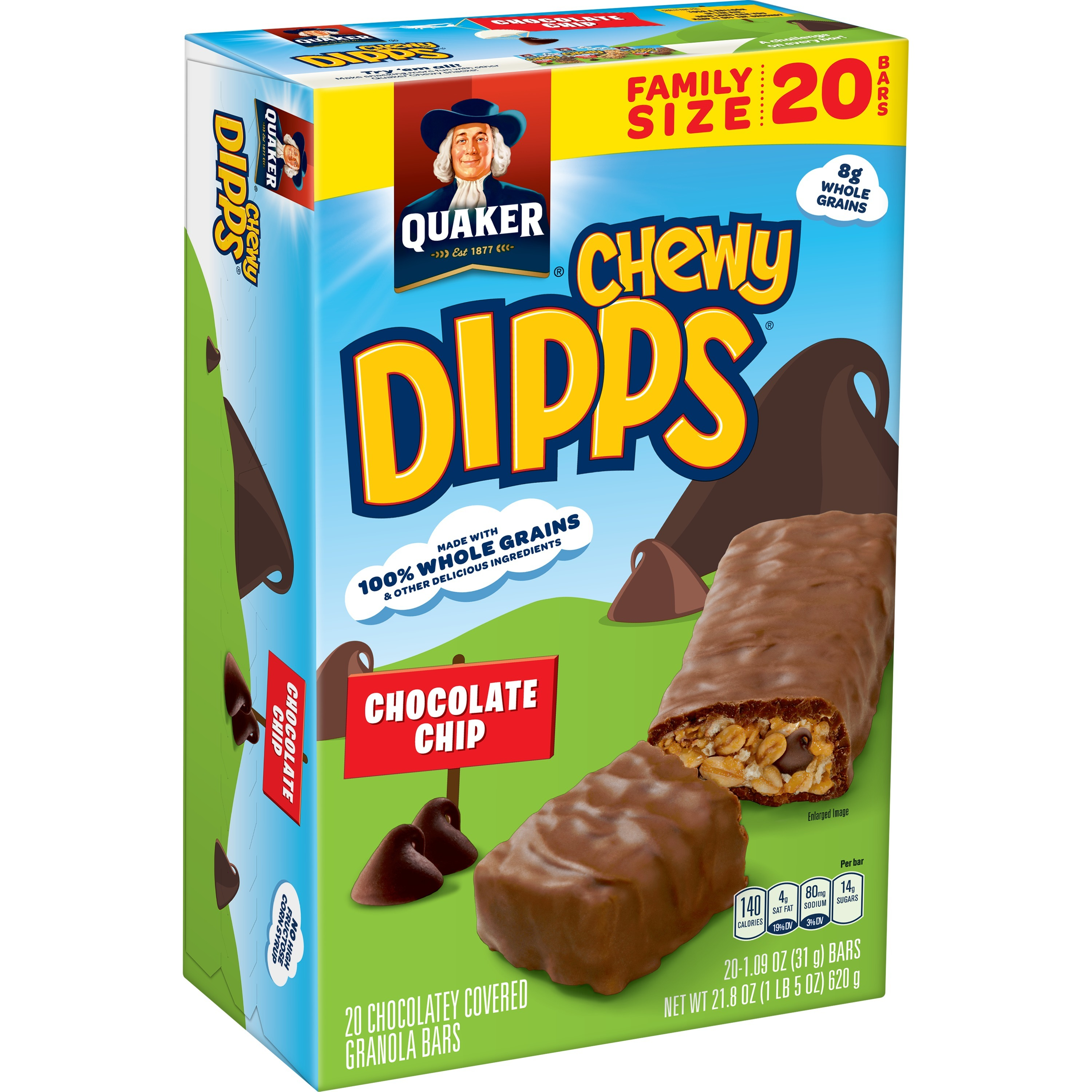(2 Pack) Quaker Chewy Dipps Granola Bars, Chocolate Chip, 20 Count
