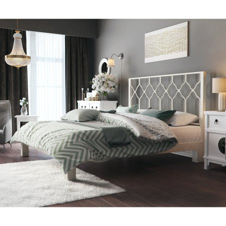 Motif Designs Honeycomb White Metal Headboard and Aura Platform Bed ()