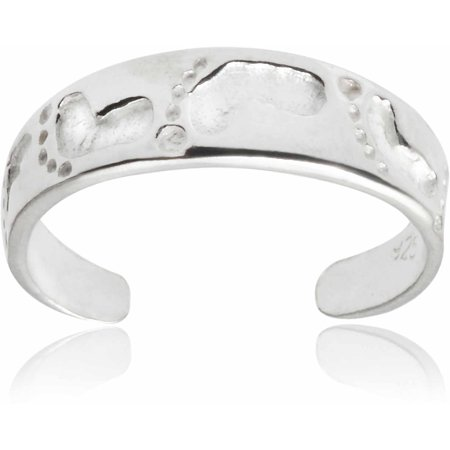 Brinley Co. Women's Sterling Silver Adjustable Footprint Fashion Toe Ring