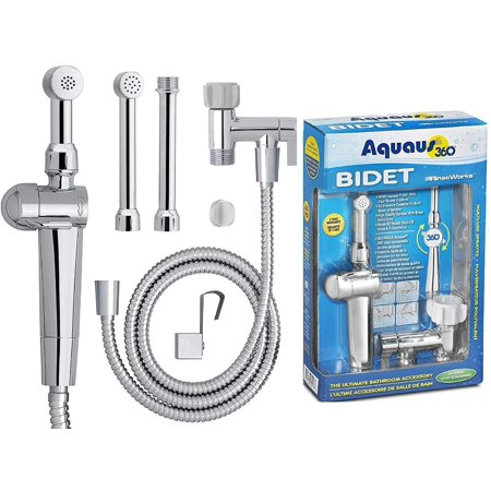 "Aquaus 360 bidet - premium hand held bidet w/ dual ergonomic thumb pressure controls on both sides of the sprayer for ez pressure control 5"" extension included! - made in usa - 3 year warranty"