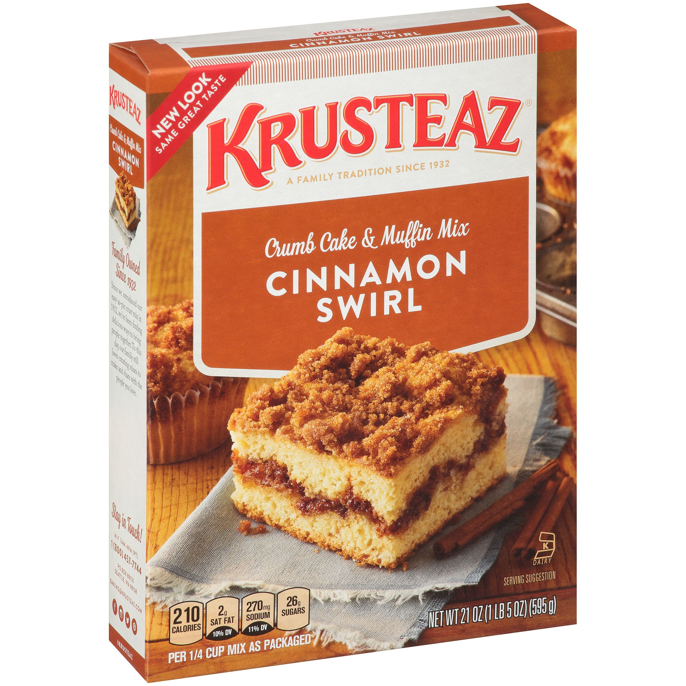 Krusteaz Cinnamon Crumb Cake Supreme Mix, 21 oz by Continental Mills, Inc.