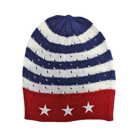 7b11bb16 American Flag Red White Blue Beanie Cap Hat