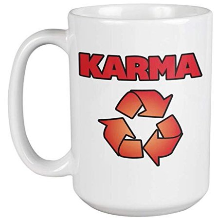 Karma. Bad And Good Aura Hinduism Themed Coffee & Tea Gift Mug For Mom, Mama, Mommy, Mumsy, Wife, Dad, Father, Pop, Papa, Girlfriend, Coworker, Moms, Wives, Husbands, And Hindus