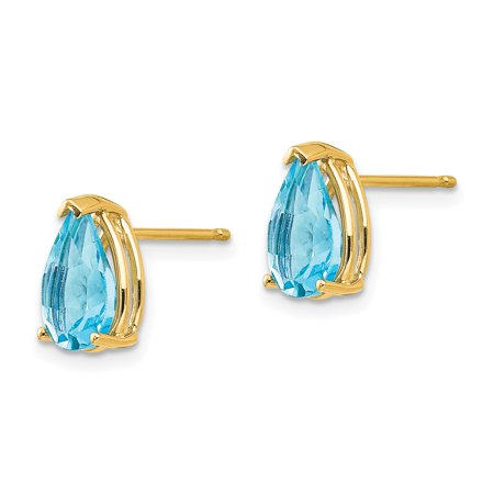 14k Yellow Gold 9x6mm Pear Blue Topaz Post Stud Earrings Gemstone Fine Jewelry Gifts For Women For Her - image 6 of 7