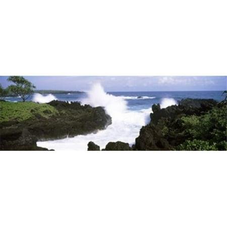 - Panoramic Images PPI134437L Waves breaking at the coast  Hana Coast  Black Sand Beach  Hana Highway  Waianapanapa State Park  Maui  Hawaii  USA Poster Print by Panoramic Images - 36 x 12
