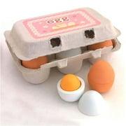 Meihuida 6PCS Wooden Eggs Yolk Pretend Play Kitchen Food Cooking Kids Children Baby Toy