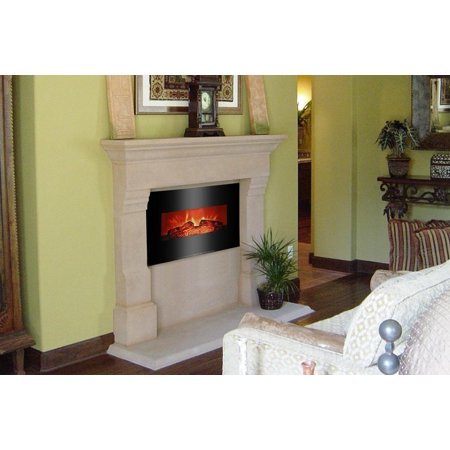 Ktaxon Room Wall Mounted 26inch Fireplace 1500W Electric Fireplace Heater for Home-Black ()
