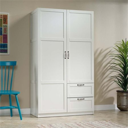 Pemberly Row Wardrobe Armoire in White Bedroom Mdf Armoire