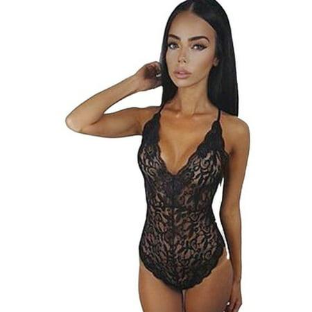 Womens Lace Lingerie Cami Cross Back Bodysuit Underwear Nightwear Sleepwear