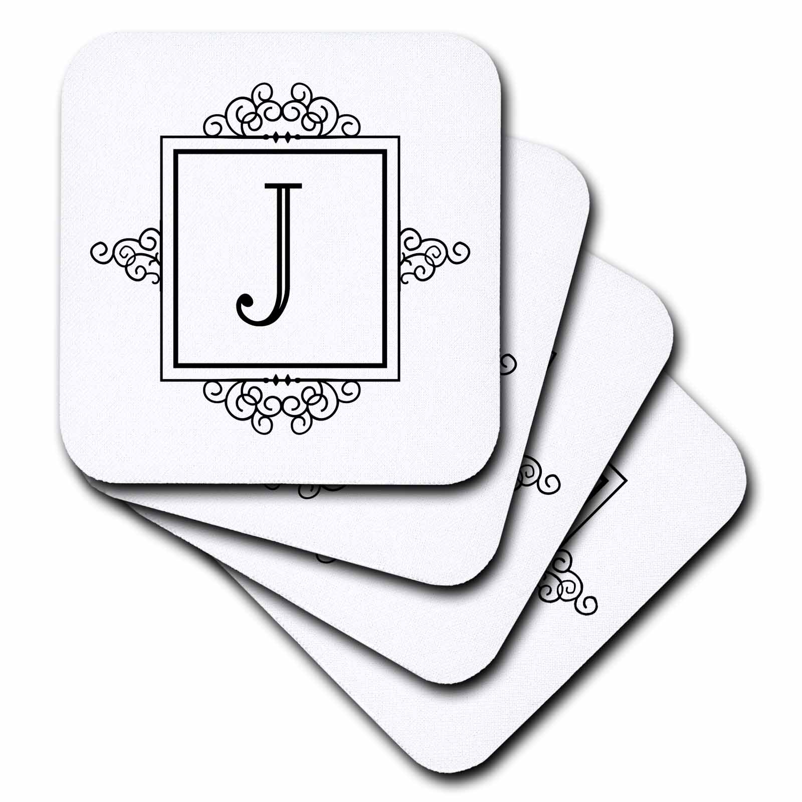 3dRose Initial letter J personal monogrammed fancy black and white typography elegant stylish personalized, Ceramic Tile Coasters, set of 4