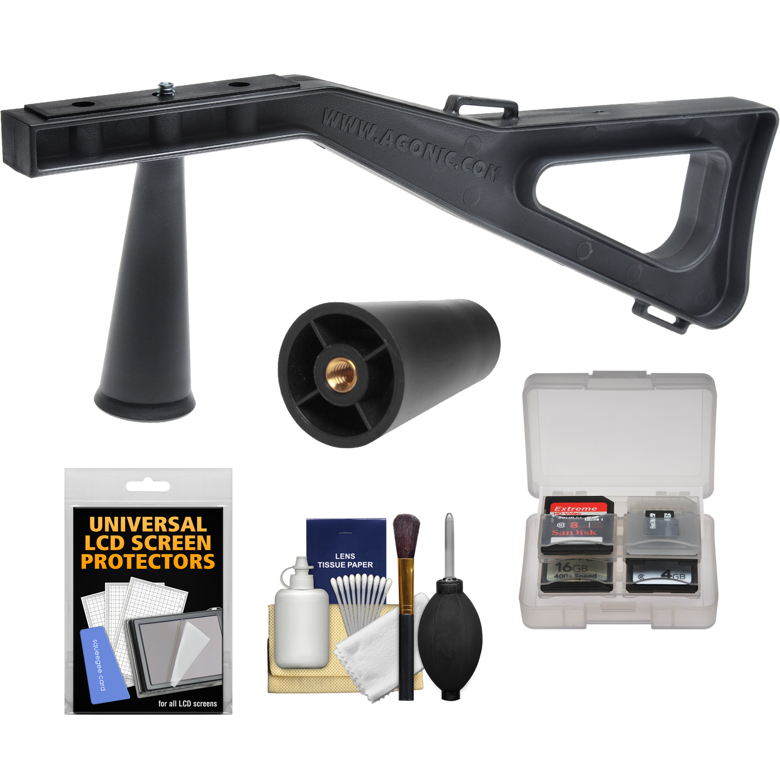 Stedi-Stock Shoulder Brace Stabilizer (Black) with Quick Release + Cleaning Accessory Kit for Digital SLR Cameras, Video Camcorders & Spotting Scopes