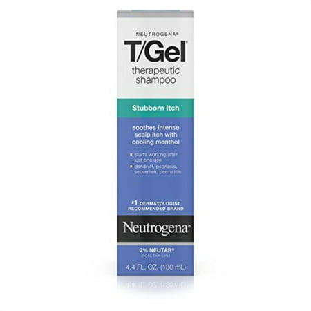 neutrogena t/gel therapeutic stubborn itch shampoo with 2% coal tar, anti-dandruff treatment with cooling menthol for relief of itchy scalp due to psoriasis & seborrheic dermatitis, 4.4 fl.