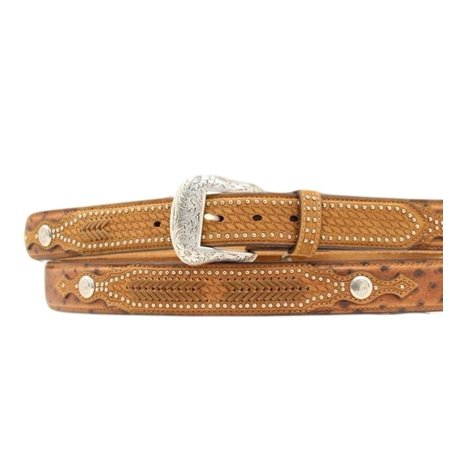 Nocona Western Belt Mens Leather Ostrich Overlay Rich Earth N2491844 ()