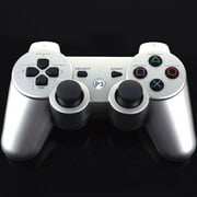 PKPOWER Bluetooth Wireless Vibration Game Controller for Sony PS3 with charge cable cord Silver