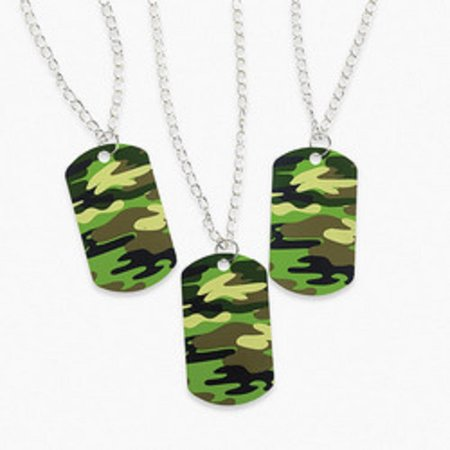 12 metal camouflage dog tag necklaces camo military army boys party favors